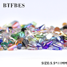 BTFBES Cone Waterdrop Pendant Austrian Crystal 5.5*11mm 50pcs Spire Glass Loose Bead For Jewelry Bracelet Making DIY Accessories