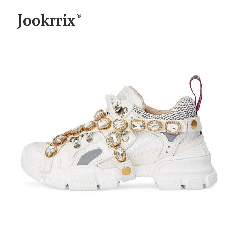 Jookrrix Casual White Shoes Crystal Brand Platform Sneakers Lady Fashion Chaussure Breathable Female Autumn Footware Rhinestone