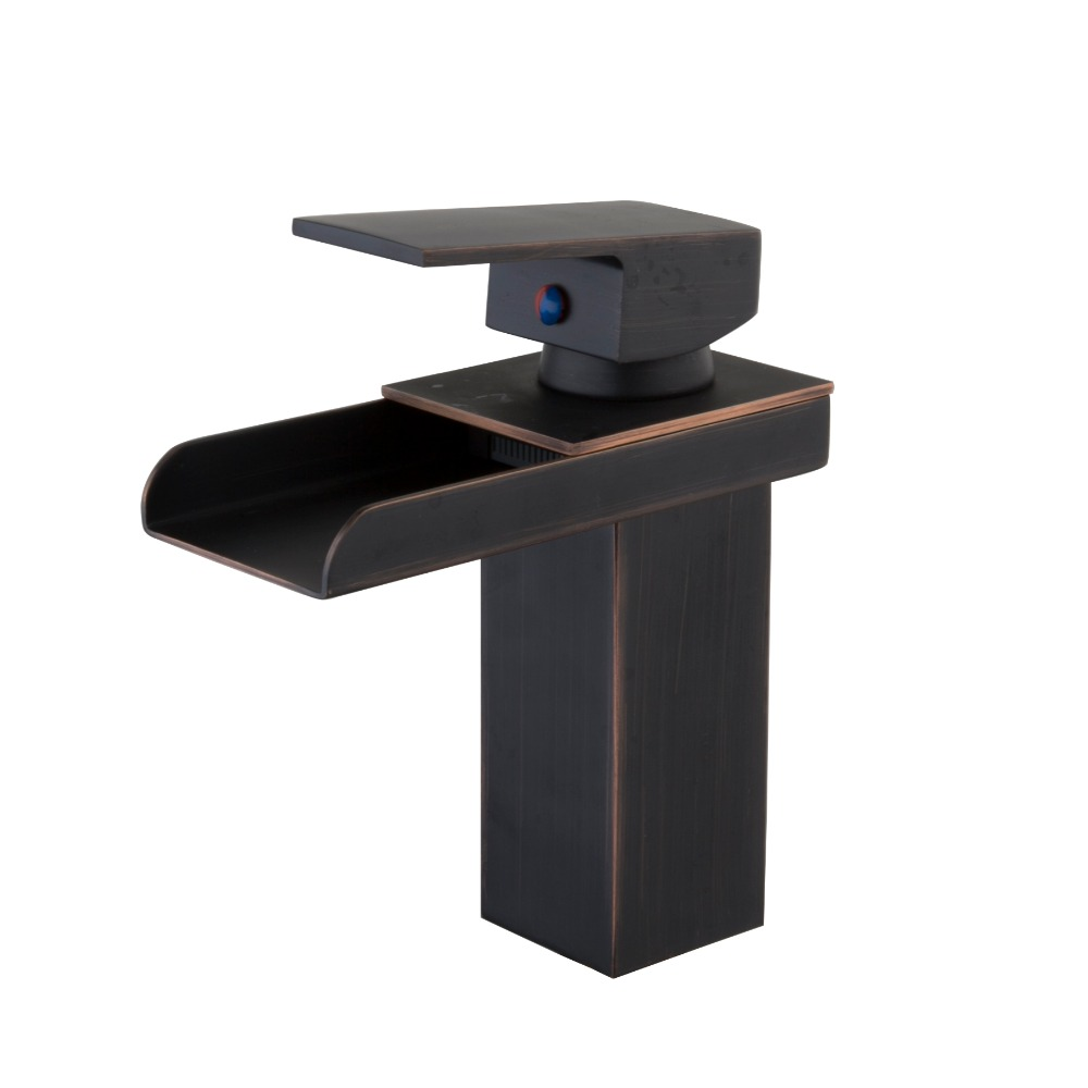 Oil Rubbed Bronze Waterfall Bathroom Basin Sink Brass Mixer Tap Vanity Faucet ORB Finish Wide Spout Water Mixer Tap modern waterfall spout oil rubbed bronze bathroom sink faucet mixer tap square handles basin faucet