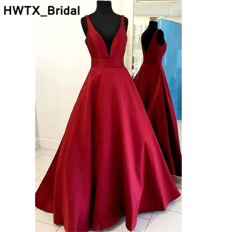 Elegant Burgundy Sleeveless Bridesmaid Dresses Long Satin Dress A-line Ruffle 2018 Bridesmaid For Wedding Party Guest Dress