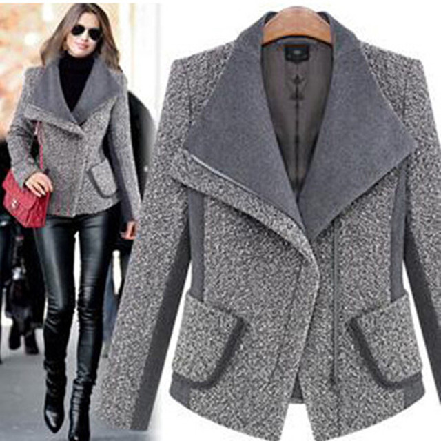 2014 New Fashion Women Woolen Coat Casual Slim Clothes Female Gray Elegant High Quality Jacket Overcoats Winter Parka Celebrity