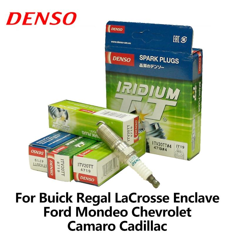 Prix pour 4 pcs/lot DENSO Bougie D'allumage de Voiture Pour Buick Regal LaCrosse Enclave Ford Mondeo 2.0 T Chevrolet Camaro Cadillac SRX Iridium ITV20TT
