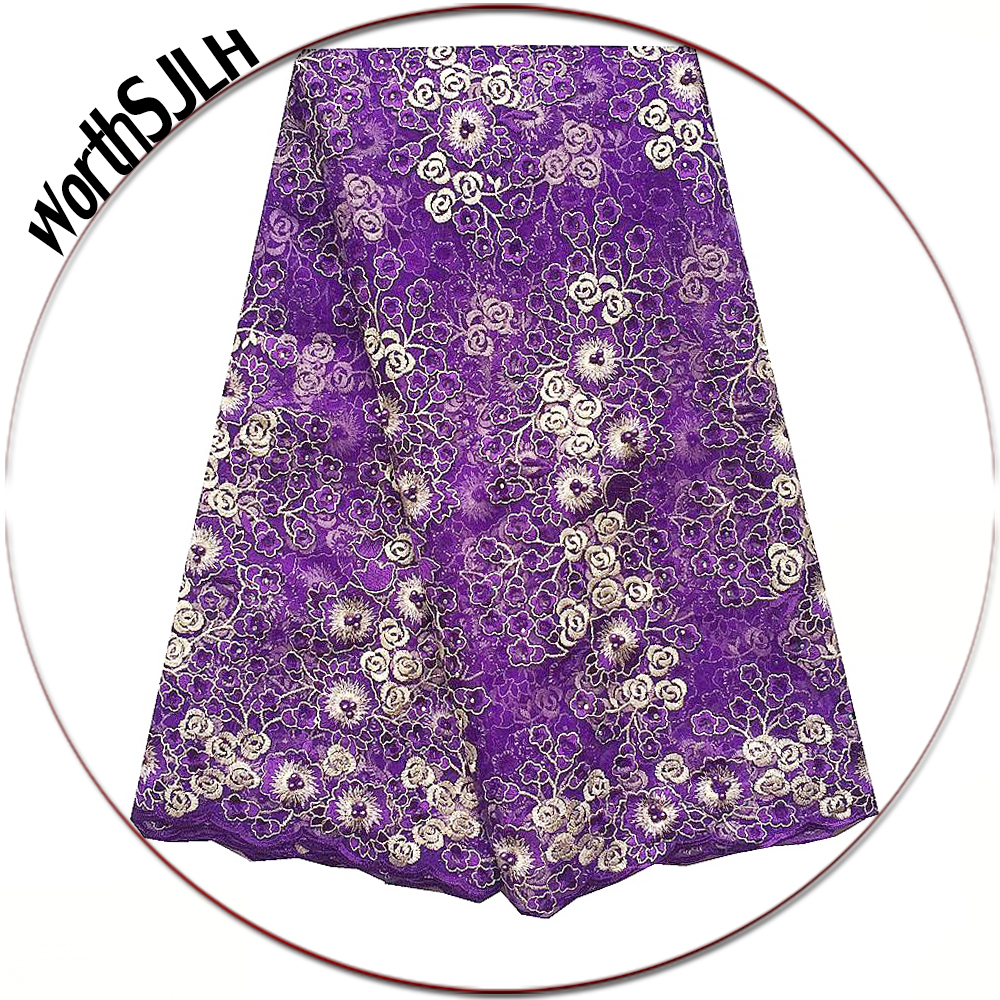 Latest Nigerian Tulle Lace Fabric High Quality Green Purple Lace Fabric Africa Net French Lace Materials