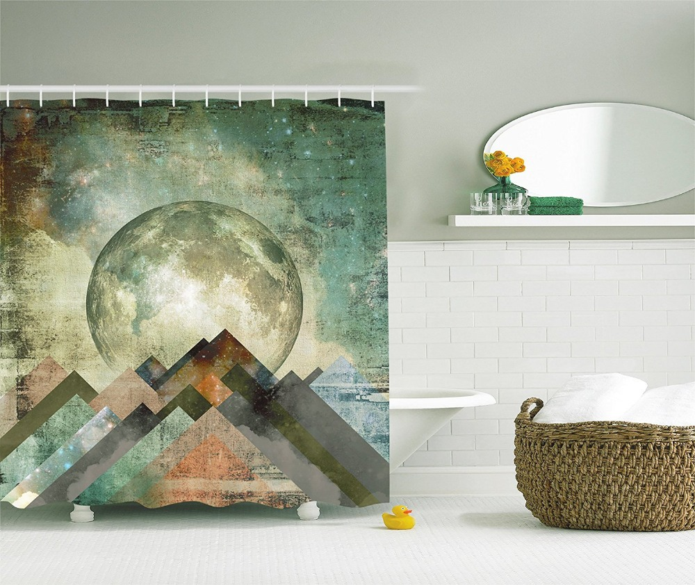Vintage shower curtains - Vintage Shower Curtain Rustic Geometric Decorations Pastel Moonshine Moon Paintings Polyester Fabric Bathroom Shower Curtain