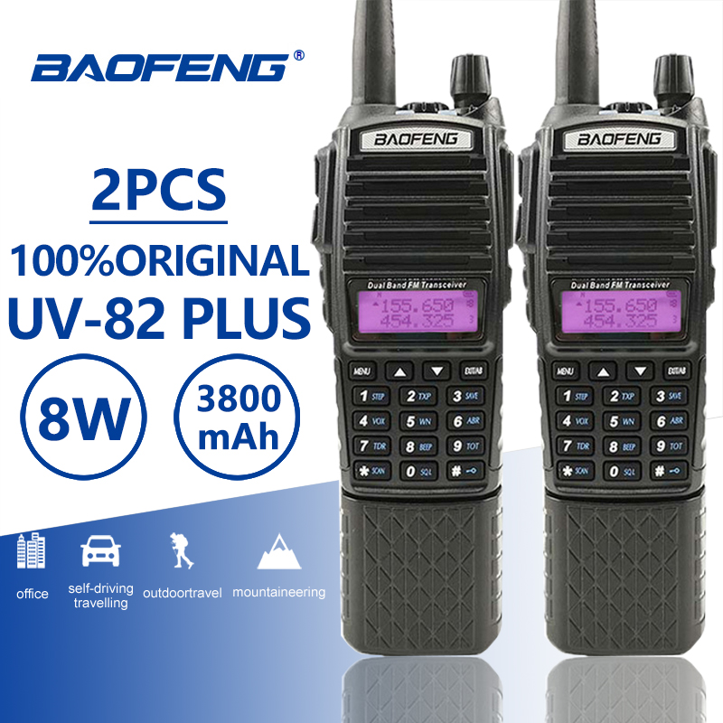2pcs Baofeng UV 82 Plus Walkie Talkie 3800 Mah Long Standby Dual PTT Dual Band Two Way Radio UV82 Walky Talky Transceiver UV 82