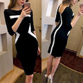 2017 women summer midi dress geometric striped silm office dress elegant patchwork backless pencil dresses plus size vestidos