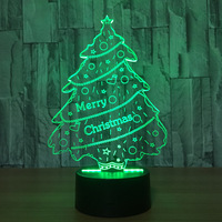 New Christmas Tree 3D Illustion Lamp Atmosphere Lamp USB Night Light Touch Switch 7 Color Change