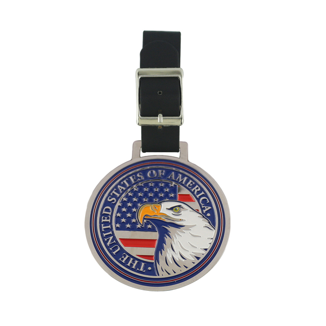 Usa Flag Eagle Unique Metal Golf Bag Tag Free Ball Marker With Hat Clip