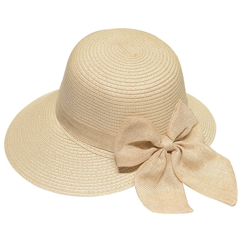 Lady New Bowknot Straw Hat Adult Summer Sunscreen Leisure Cap Wide Brim Students Fresh Raffia Shading Sun Cap Foldable