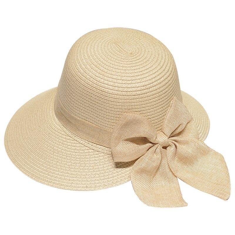 Lady New Bowknot Straw Hat Adult Summer Sunscreen Leisure Cap Wide Brim Students Fresh Raffia Shading Sun Cap Foldable