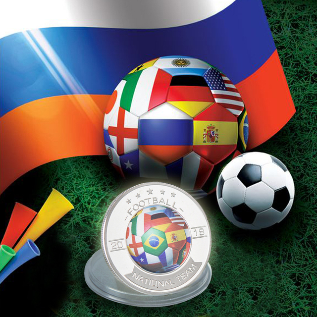 Wr 2018 Russia World Cup Silver Coins Collectibles Football Collector Euro Coin Soccer Commemorative Nation Team Birthday Gift