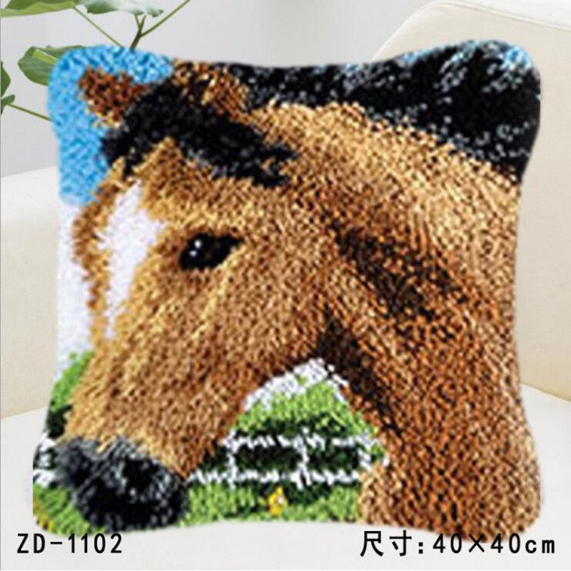 Us 14 88 46 Off Horse Embroidery Pillowcase Latch Hook Rug Kits Knoopkussen Pakket Crochet Pillow Craft Cushion Tapestry Kit In
