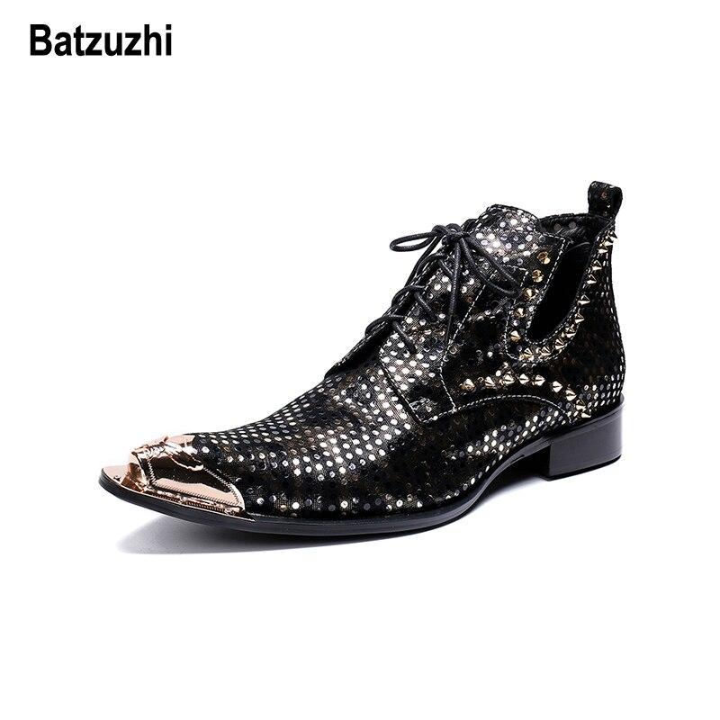 Hombre Homem Itália De Sapatos Tipo Homens Ponta Batzuzhi Moda Metal Com up Do Rebites Preto Partido Botas Lace Apontou Da Couro RpTqc