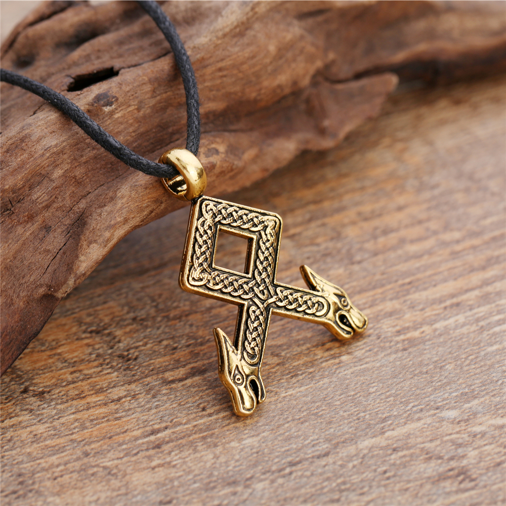 Dawapara Teen Wolf Viking Odal Runes Necklace Pendants Vintage Othala Charms Jewelry for Men and Women Christmas Gift image