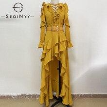 SEQINYY أنيقة فستان طويل 2020 الصيف ربيع جديد تصميم الأزياء الكشكشة المتتالية شرابة المرأة طويلة الأكمام حزام فستان أصفر