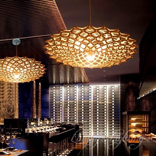 45cm diy ufo oak wood wooden cage mushroom flying saucer cloud chandelier dining coffee restaurant light - Cloud Lamp Diy