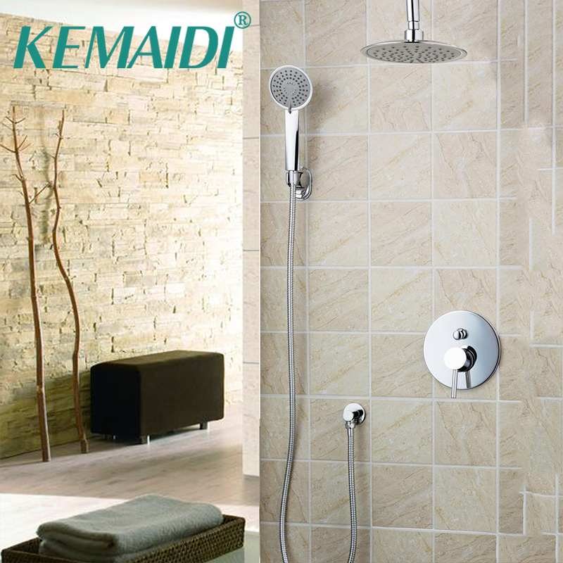 KEMAIDI  8 Ceiling Mount Utral-thin Faucet Tap Shower Head Bathroom Rain Shower chuveiro Set 50237-22A/00 Bath Shower Set kemaidi new modern wall mount shower faucet mixer tap w rain shower head