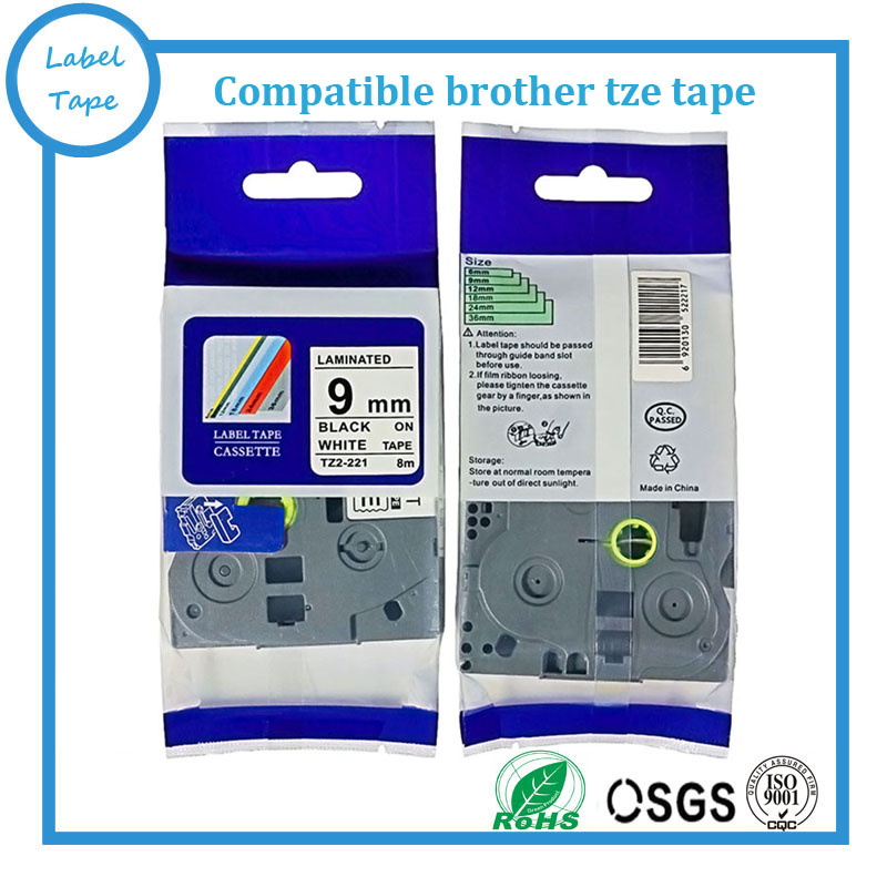 """1pk Black on White Tape Label Compatible for Brother P-Touch TZ TZe 221 9mm 3//8/"""""""