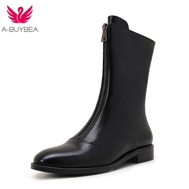Новинка 2017 года Для женщин Женская Зимняя обувь ботинки из натуральной кожи Брендовая женская обувь высокое качество ботинки до середины и...