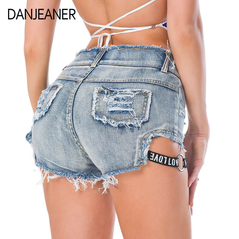 Danjeaner New Summer Sexy Nightclub Night Dress Women High Waist Denim Shorts Letters Jeans Hole Was Thin