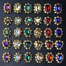 10 pçs 3d prego strass glitter cristal de diamante para unhas metal jóias decoração da arte do prego diy encantos por atacado 2019