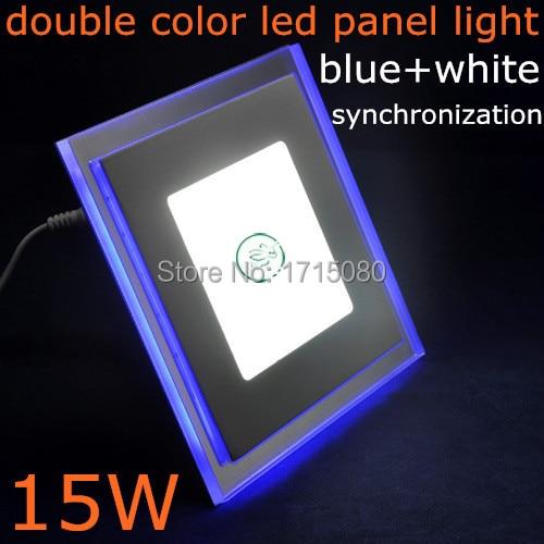 15W synchrónně čtvercová led panelová světla Akryl + sklo AC85-265V dvojitá barva (modrá + studená bílá) stropní svítidlo pro domácnost