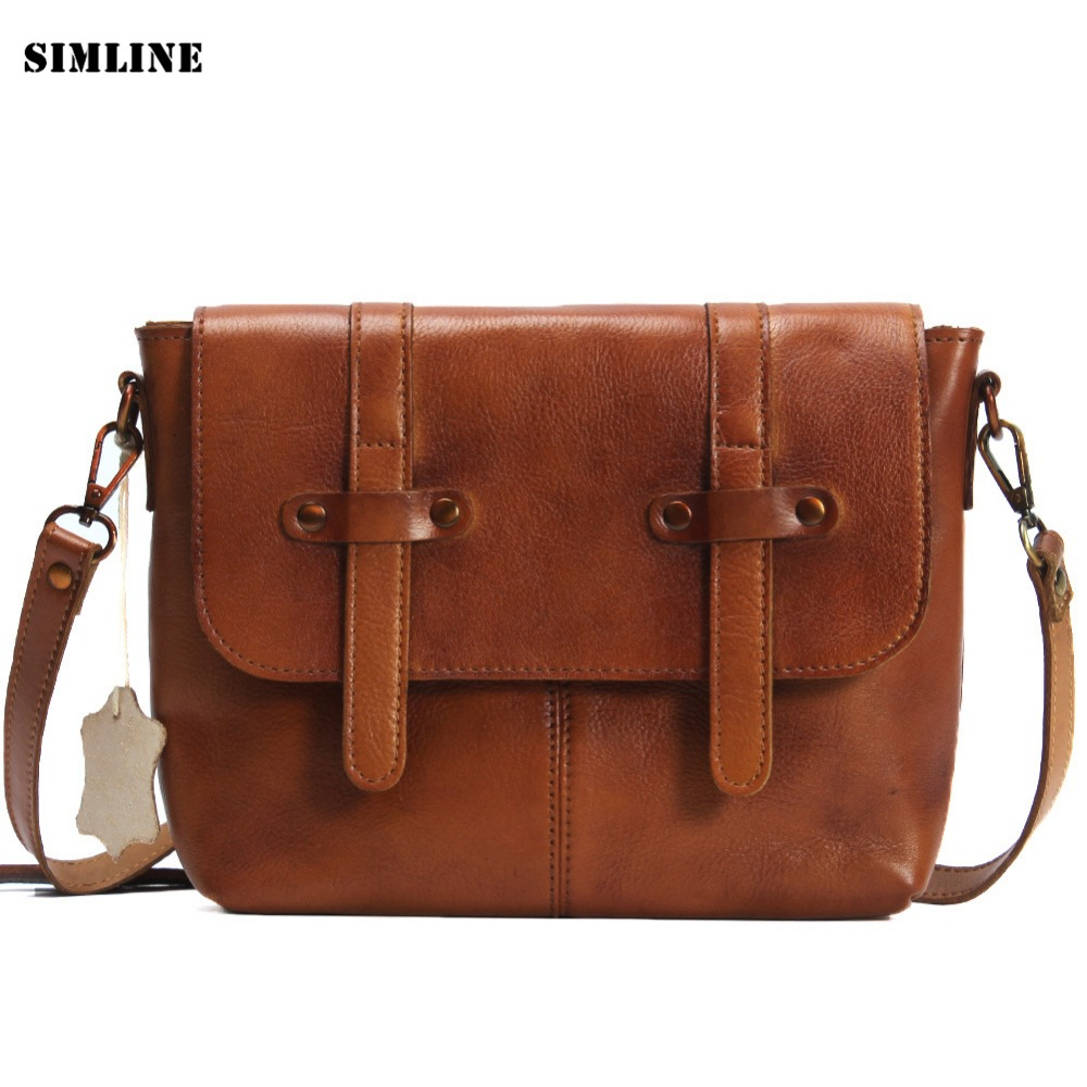 ФОТО Vintage Handmade 100% Genuine Vegetable Tanned Leather Cowhide Women Messenger Shoulder Cross Body Bag Bags Handbag For Ladies
