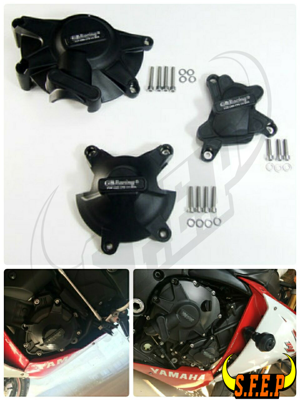Motorcycle Engine Case Guard Protector Cover GB Racing For Yamaha YZF-R1 2009-2010-2011-2012-2013-2014 Black