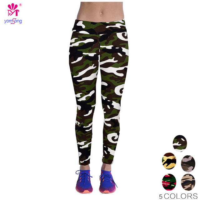 2016 Wholesale High Waist Camouflage Leggings Stretchy Full Length Plus Size Fashion Flower Casual  Wear Fitness Pants 189