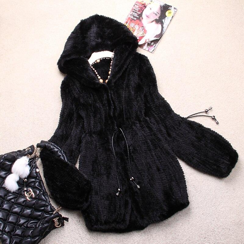 Dames Mode Véritable Tricoté De Fourrure De Vison Manteau Veste avec Capuche Hiver Femmes Fourrure Manteaux Grande Taille 4XL 5XL VK0307