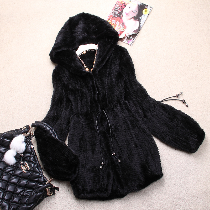 Ladies Fashion Genuine Real Knitted Mink Fur Coat Jacket with Hoody Winter Women Fur Outerwear Coats Plus Size 4XL 5XL VK0307