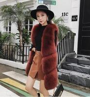 Brand famous Design New 2018 Spring Natural fox fur vest gilets burnt candy Color hombre color Real fox fur waistcoat