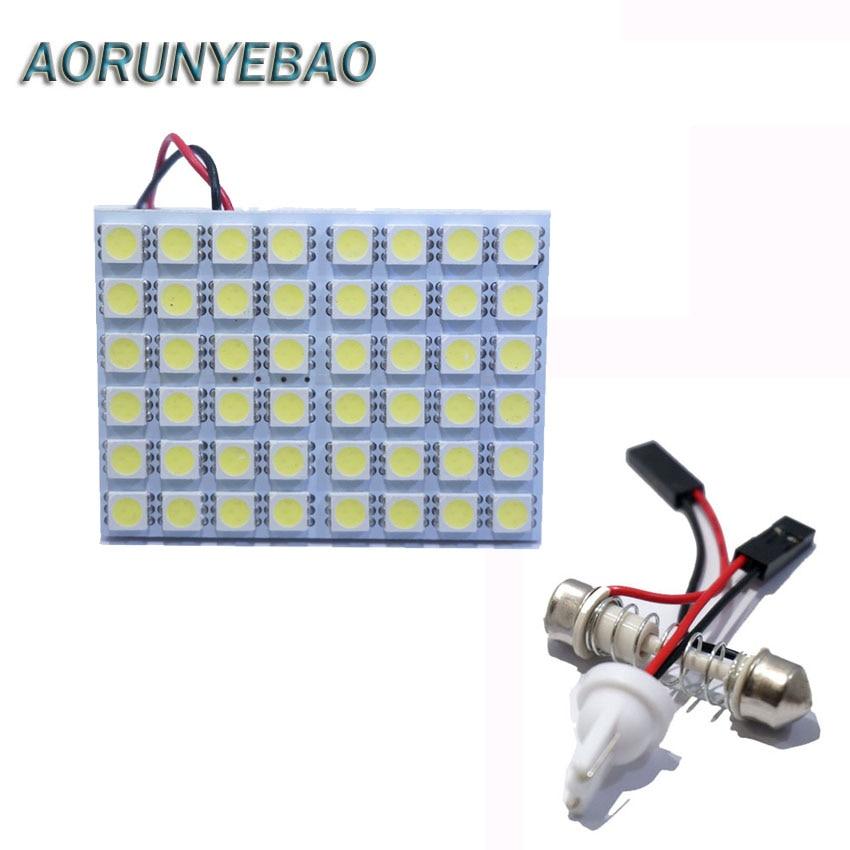 AORUNYEBAO 100X Led Panel 48 SMD 5050 Car dome light 31mm 36mm 39mm 41mm T10 Festoon