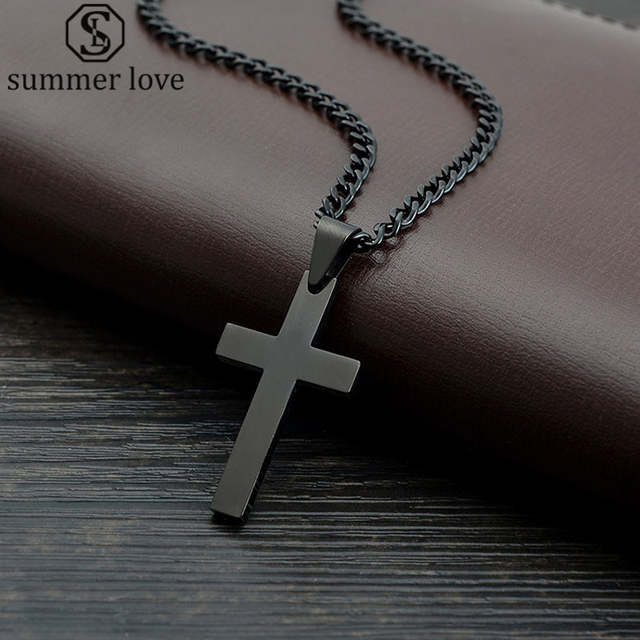 6b7225bc944b7 Summer Love Jewelry Men's Cross Necklaces For Women Men Stainless Steel  Black Color Pendant Prayer Necklaces 24