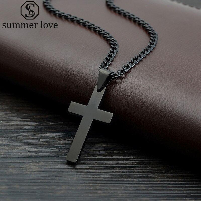 Summer Love Jewelry Men's Cross Necklaces For Women Men Stainless Steel Black Color Pendant Prayer Necklaces 24