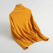 Shuchan Women Sweaters And Pullovers Turtleneck Loose Computer Knitted Office Lady Pockets Sweater For