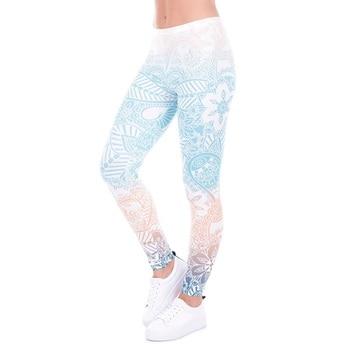 Gran oferta Leggings de Fitness con estampado de Mandala y menta, mallas de alta elasticidad para mujer