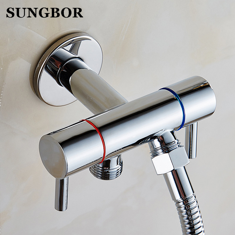 Golden Brass Handheld Bidet Spray Shower Set Copper Bidet Sprayer Lanos Toilet Bidet Faucet Lavatory Gun Wall Mounted Tap PQ 819 in Bidets from Home Improvement