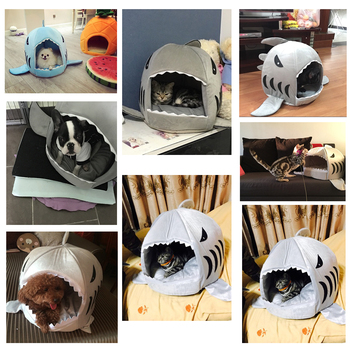 Blue Shark Dog Kennel Warm Soft Dog House Cat Bed PP Cotton Pet Bed for Small Pet Products Fashion Shape Dog Sleeping Bag 1