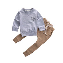 AiLe Rabbit 2017 New Boys Clothes Suit Fashion T-shirt + Pants 2 Pcs/set Long Sleeves Fall Letters Navy Children's Clothing