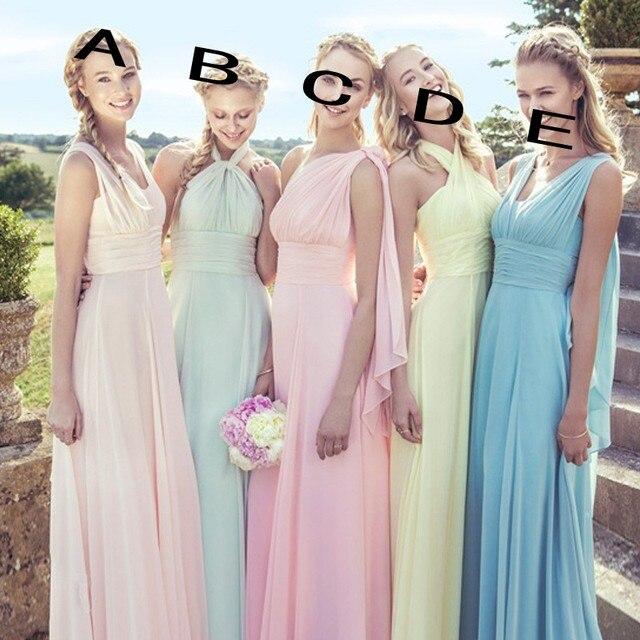 2d9cbdbb488 2017 Cheap Convertible Bridesmaid dresses Halter Floor Length Chiffon Pink  Yellow Blue Beach Maid of Honor Wedding Guest Dress