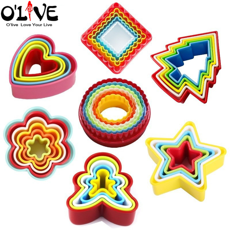 Christmas Cookie Cutter Set Fondant Molds Biscuit Shape Cake Forms Plunger Flower Cookie Stencil Round Gingerbread Baby Baking