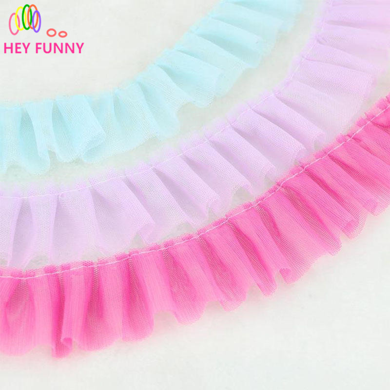 HEY FUNNY 2yard 5cm DIY clothing accessories wide double fold lace mesh lace trim gauze ruffles accessories party DIY decoration