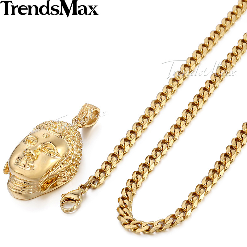Trendsmax 316L Stainless Steel Gold Color Buddha Pendant Mens