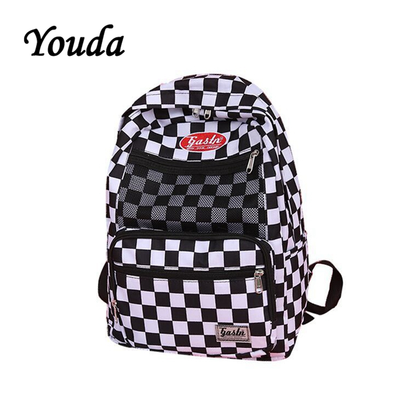 Youda New Port Wind Black And White Plaid Backpacks Casual Literature Shoulder Bag Simple Style Student Backpack Hand Bags