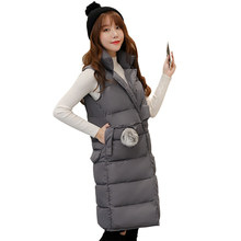 Free shipping Winter Women Vest Waistcoat 2017 New Down Cotton Padded Hooded Warm Sleeveless Jacket Vest Female L-3XL(China)
