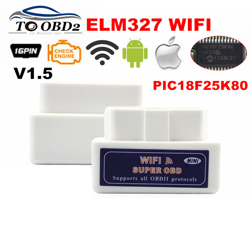 Настоящее PIC18F25K80 чип супер OBD2 ELM327 WI-FI V1.5 оборудование работает Android/iOS ELM 327 Bluetooth для Android телефон работает diesel