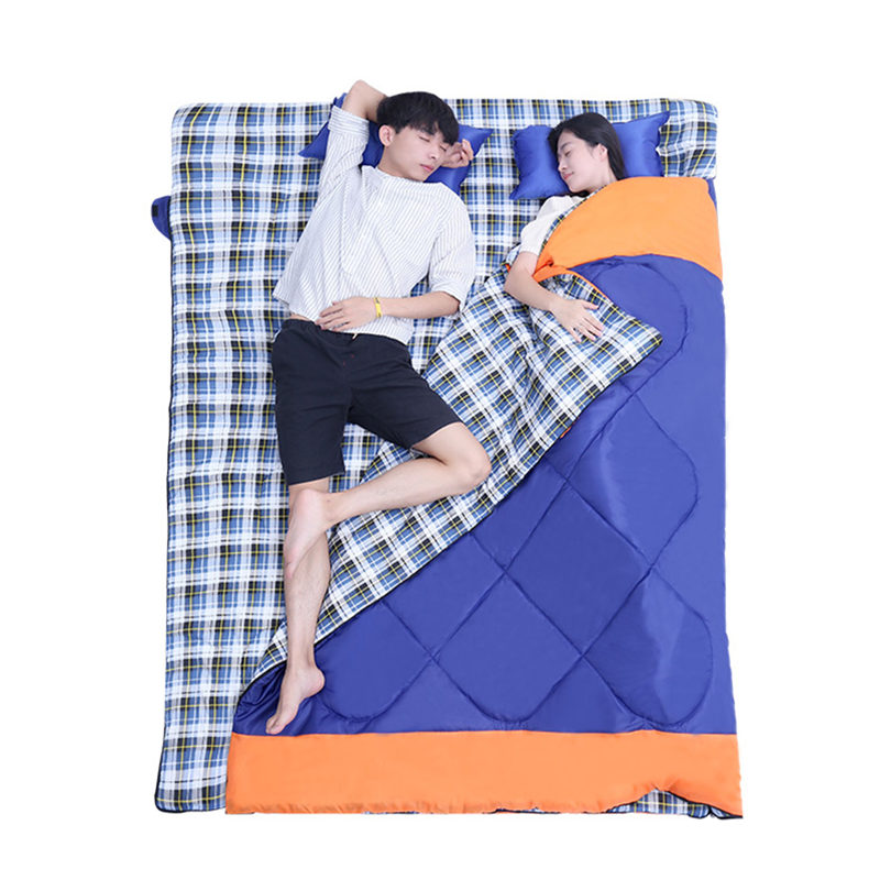 3 In 1 Outdoor Camping Sleeping Bag Ultralight 2 Person Envelope Lovers Sleeping Bag Spring Autumn (185+35)*150cm