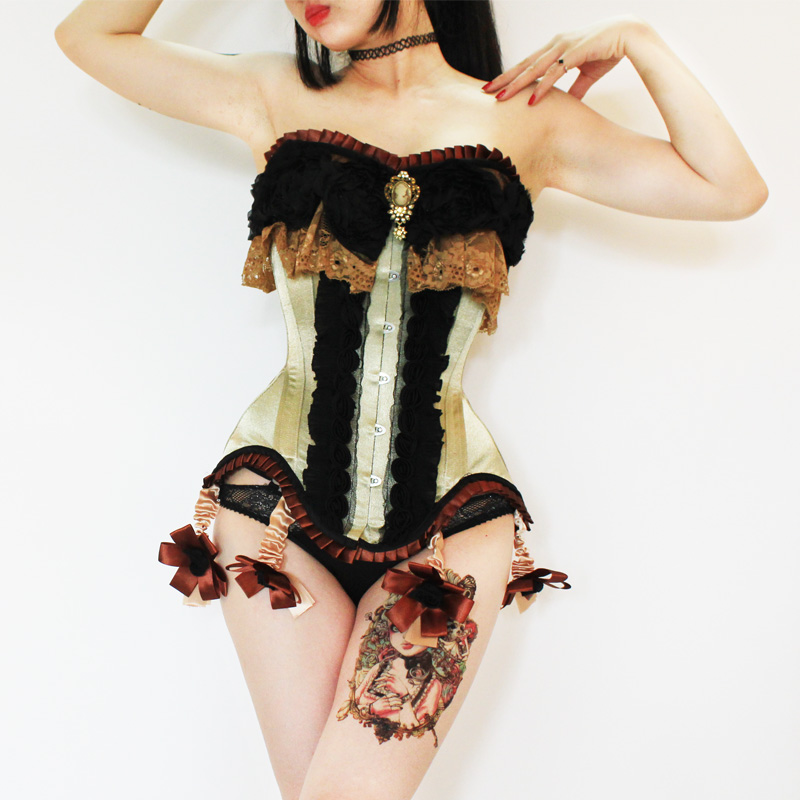 Annzley Burlesque Corset Costumes Vintage Lace Overbust Corset For Women
