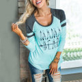 Women Tees T-Shirt Top Bts Soft Comfortable Charming Girls Loose Crewneck Sweatershirt Letter Printed Light Blue S/M/L/XL